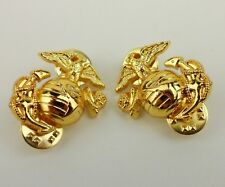 PAIR GOLDEN US MARINE CORPS COLLAR INSIGNIA BADGE USMC LAPEL PINS