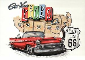 Get Your Kicks on Route 66, Road Chicago to Los Angeles, Oldtimer Car - Postcard