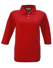 LADIES 3/4 SLEEVE, POLO SHIRT, COTTON / POLY, EASY CARE, XS S M L XL 2X 3X 4X