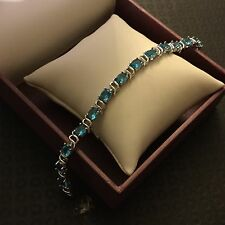 "GB Aquamarine oval gems white gold filled bracelet 7.5""/19cm x 6mm BOXED Plum UK"