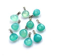 10x10mm Faceted Briolette Blue Chalcedony beads with Sterling Silver Wire - 1pcs