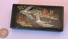 """Trinket Box RUSSIAN LACQUER Hand-Painted Wood PAIR OF SWANS SIGNED TITLED 4.75"""""""
