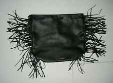 8e9207315e30 VICTORIA S SECRET Black Faux Leather FRINGE BACKPACK Gym School Book Bag ...