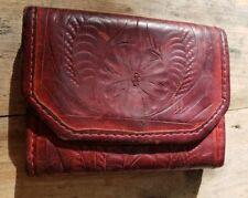 Vintage Tri-Fold Dark Red Leather Wallet Hand Tooled Floral Bobo Festival Hippie