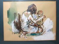 vintage original signed Paul Biddle figural mother and child oil mixed painting
