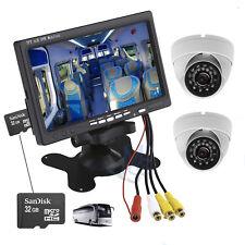 """Kit Videosorveglianza Monitor DVR 7"""" Due Telecamere Dome CCD IR LED Scheda SD"""