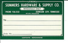AR-041 - Summers Hardware & Supply Johnson City, TN Pre Zip Code Mailing Label
