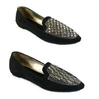 WOMENS LADIES FLAT JEWEL DIAMANTE SLIPPERS LOAFERS SLIP ON PUMPS SHOES SIZE