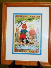 "Mary Engelbreit Framed Wall Hanging Art Print ""Made A Wish"" 2 Girls Wood Frame"