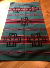 Navajo Design, Southwestern Wool Rug or Wall Hanging 32 x 64 Green Black