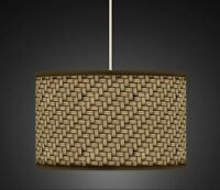 Brown Wicker / Wood Retro Handmade Printed Fabric Lampshade 465