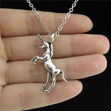 "21-2 18"" Silver Collar Chunky Necklace Jumping Horn Animal Horse Unicorn Pendant"