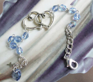 New Light Sapphire Blue Glass Bead Double Heart Crystal Chrisitan Bracelet