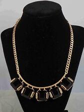 Kenneth Cole New York Brushed Goldtone JET SET Black Shaky Frontal Necklace $65