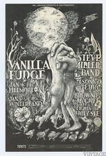 Bill Graham 101 Postcard Vanilla Fudge, Steve Miller Band 1968 Jan 4