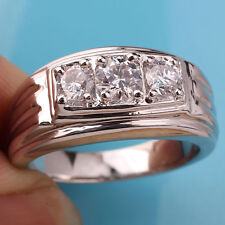 Solid 925 Sterling Silver Men Ring Size 12 with Three Clear CZ