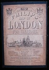 PHILIPS' MAP OF LONDON FOR VISITORS, by George Philip 1874 Map of England Scarce