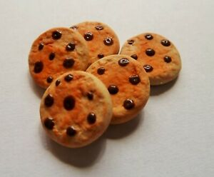 DOLLS HOUSE MINIATURE FOOD 1:12 * 5 X CHOCOLATE CHIP COOKIES * COMBINED P+P