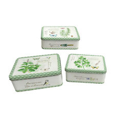 Set of 3 Tin Containers with Herbal Design, Suitable for Cakes & Storage