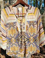 FIG AND FLOWER Anthropologie Boho Chiffon Sheer Top Shirt Tribal Gold Size Small