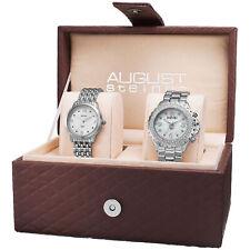 August Steiner AS8171SS Women's Diamond-Accented MOP Quartz Bracelet Watch Set