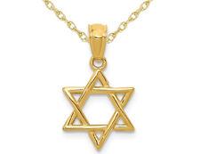 14K Oro Amarillo Estrella De David Colgante Collar Con Cadena
