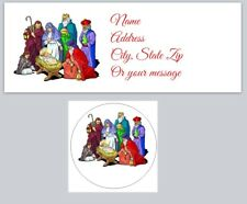 30 Return Address Labels & 30 Square Stickers Nativity Buy3 get1 free (ch3)