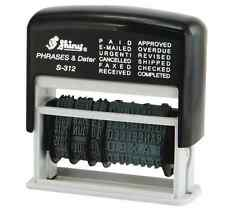 Self Inking Ink 12 in 1 Rubber Date Stamp PAID, E-MAILED, URGENT CANCELLED