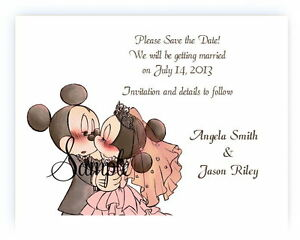 50 Personalized Disney Mickey and Minnie Pink Wedding Save The Date Cards