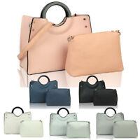 Women's Leather Fashion Large Tote Shoulder Handbag + Messenger Crossbody Bag