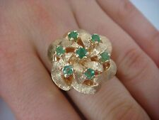 14K YELLOW GOLD VINTAGE COCKTAIL RING HIGH SET WITH EMERALDS 10.1 GRAMS