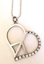 Boho Heart Shaped Pewter Peace Sign Symbol Pendant with Rhinestone Necklace USA