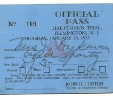 RARE 1935 Rare Hauptmann Lindbergh Trial Official Pass NUMERED 109 Kidnapping