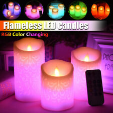 3PCS Colour Changing RGB LED Candle Tea Lights Flameless With Remote