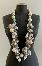 Authentic Vintage KENZO Beaded Shell Crystal Long Necklace