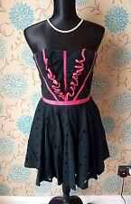 Stunning KAREN MILLEN Strapless Black & Pink Broderie Dress - Size 12