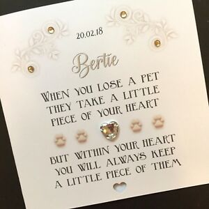Personalised Handmade 'Piece of your heart ' Dog/Cat Sympathy Card
