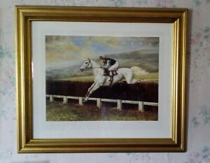 Horse racing picture framed print Desert Orchid Gold by Maxine Cox 29 x 24 inch