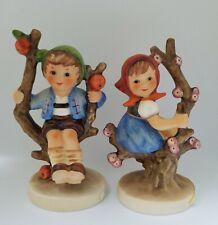 """Vintage Hummel Apple Tree Girl #147/3/0 & Apple Tree Boy #142/3/0 Set 4.25"""" Tall"""