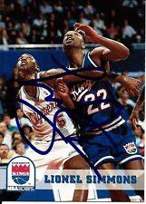 Autographed Lionel Simmons Sacremento Kings 93-94 Skybox Basketball Card #191