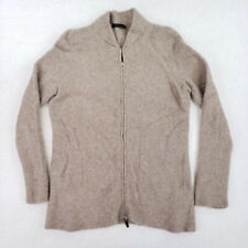 The Row Womens Large L Cashmere Silk Sweater Cardigan Long Sleeve Full Zip Beige
