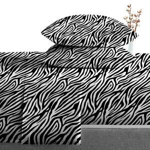 "600 TC Egyptian Cotton Luxury Soft 4 PC Sheet Set Zebra Print Solid 15"" Deep"