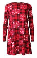 Womens Ladies Kids Christmas Santa Snowman Printed Xmas Party Flared Swing Dress