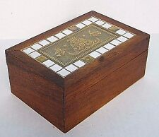 Georges BriArd MiD Century ViNtage Wood Glass & MosiAc TiLe TiDbiT CiGarette Box