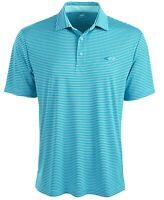 Greg Norman Men's Activewear Polo Light Pool Blue Size XL Striped $49 617