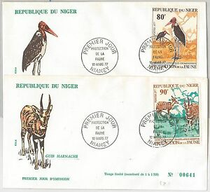56642 - FAUNA Animals BIRDS -  NIGER -  POSTAL HISTORY: Set of 2 FDC COVER 1977
