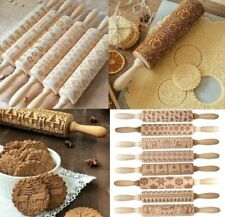 Christmas Embossing Rolling Pin Baking Cookies Dough Cake Engraved Roller Xmas