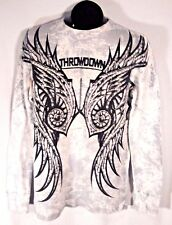 THROWDOWN BY AFFLICTION PREMIUM LONG SLEEVE GRAPHIC SHIRT SMALL BLACK WHITE (C)