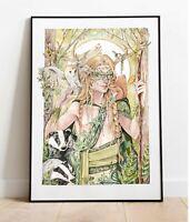 A3 Edizione Limitata Stampa Verde Uomo Mano Decorato Artist Mortimer Sparrow COA