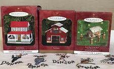 Lot of 3 Tin Farm House Red Barn Bait Shop Hallmark Ornaments 1999 - 2000 Town